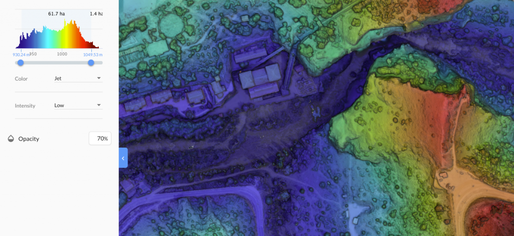 Mapa de elevacion con drone